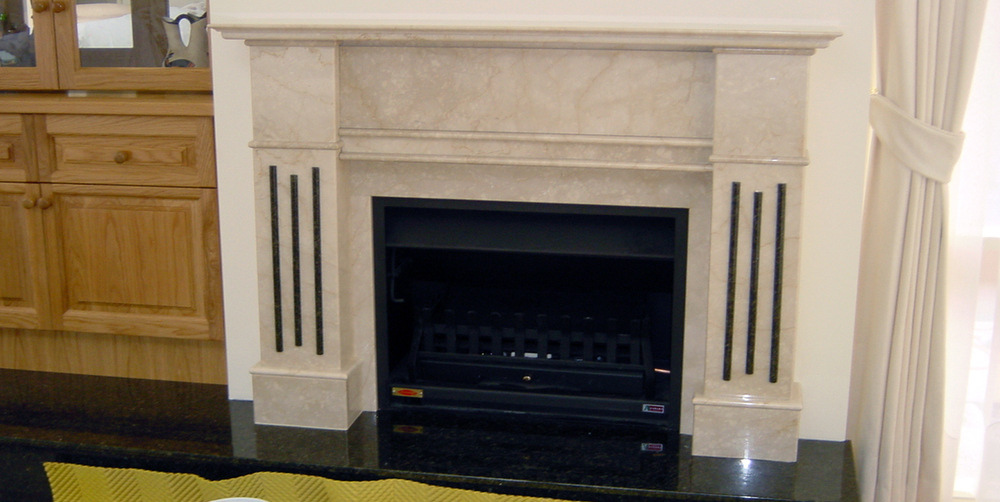 Fireplace - Botticino Marble Ubatuba Granite - Stonemasons ...